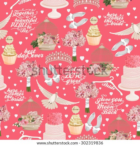 Retro vector seamless pattern with wedding icons on pink background for wedding invitation, paper, fabric and other printing, web projects. - stock vector