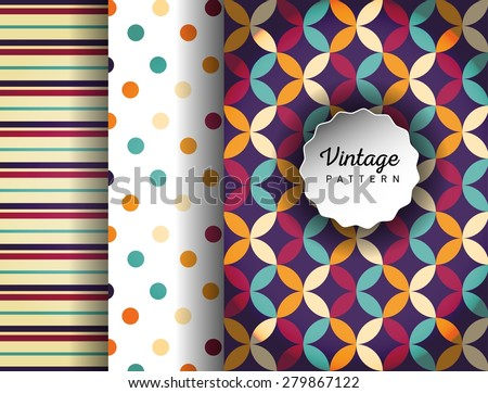 Retro vector seamless patterns. Endless texture can be used for wallpaper, pattern fills, web page background,surface textures. Set of colorful geometric ornaments. Pattern for cafe, sweet-shop. - stock vector