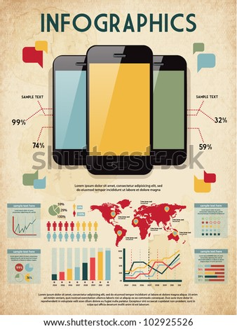 retro vector set of infographic elements for your documents and reports with three glossy touchscreen mobile phone devices - stock vector