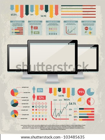 retro vector set of infographic elements for your documents and reports with three glossy monitor screens