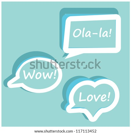 Retro Vector speech bubble for dialogue with text Wow love Ola-la easy to change   Orange icons