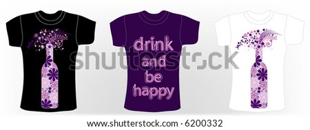 retro vector t-shirt design with flowers on the bottle - stock vector