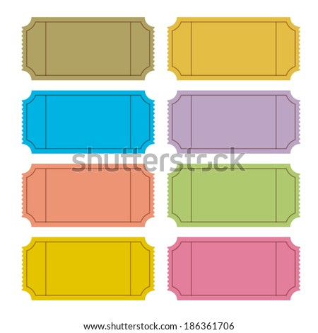 Retro Vector Ticket Set Illustration  - stock vector