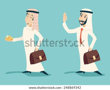 Retro Vintage Arab Businessman with Gold Greeting Business Proposal  Cartoon Characters Set Icon on Stylish Background Design Vector Illustration - stock vector