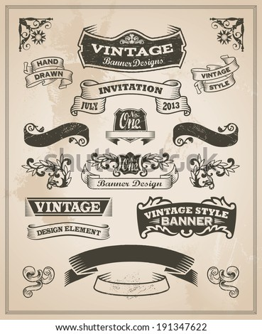 Retro vintage banner and ribbon set. Vector illustration design elements with textured background. - stock vector