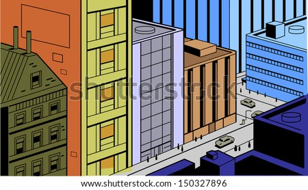 Retro Vintage City Street Scene for Comics and Animation - stock vector