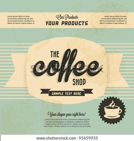 Retro Vintage Coffee Background with Typography - stock vector