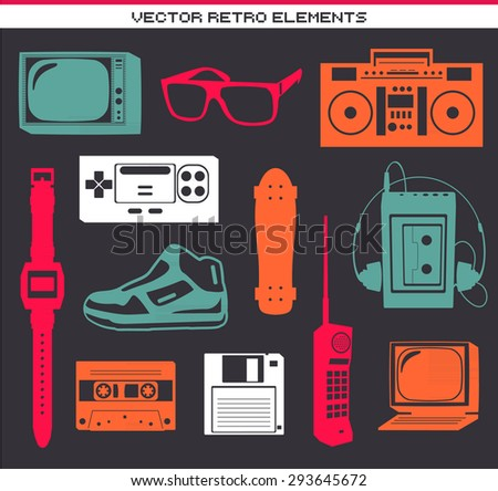 Retro 80 vintage elements set collection - stock vector