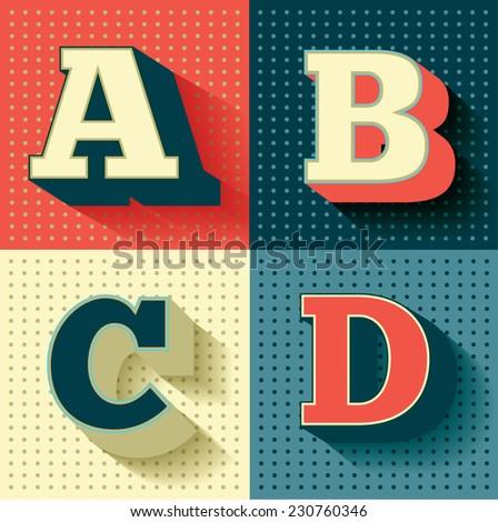retro/vintage font/typeface vector/illustration A,B,C,D - stock vector