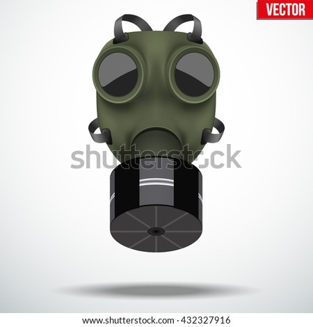Retro vintage gas mask with one filter. Army symbol WWII. Editable Vector illustration Isolated on white background. - stock vector