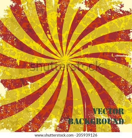 Retro vintage grunge spiral background. Vector illustration. - stock vector