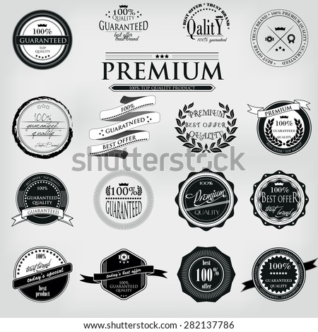 Retro Vintage 100 guaranteed Premium Quality Labels set - stock vector