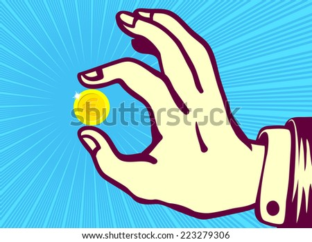 retro vintage hand holding euro coin between thumb and index finger - stock vector