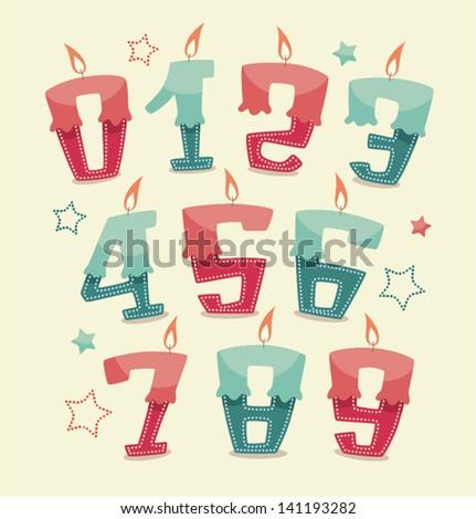 Retro vintage happy birthday candles - stock vector