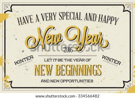 Retro Vintage Holiday Season Greeting Card with Typography - stock vector