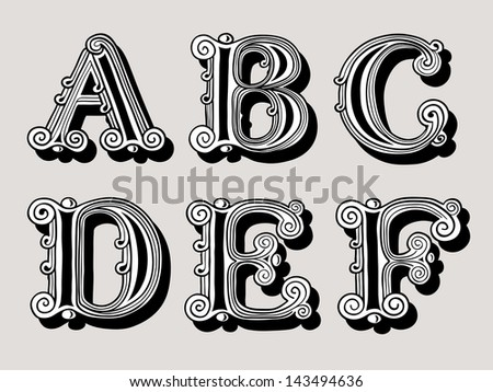 Retro vintage illustration of alphabet letters in caps, the A, B, C, D, E and F in the antiqua design in black and white over a sepia background - stock vector