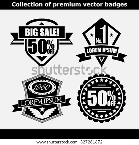 Retro Vintage Insignias or Logotypes set. Design elements, business signs, logos, identity, labels, badges, apparel, shirts, ribbons, stickers and other branding objects. Typographic Illustration. - stock vector