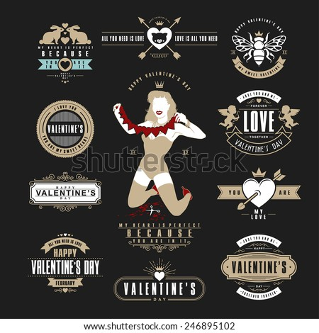 Retro Vintage Insignias or Logotypes set for Valentines day. Vector tags, calligraphic and typographic elements, signs, logos, labels, badges and objects. - stock vector