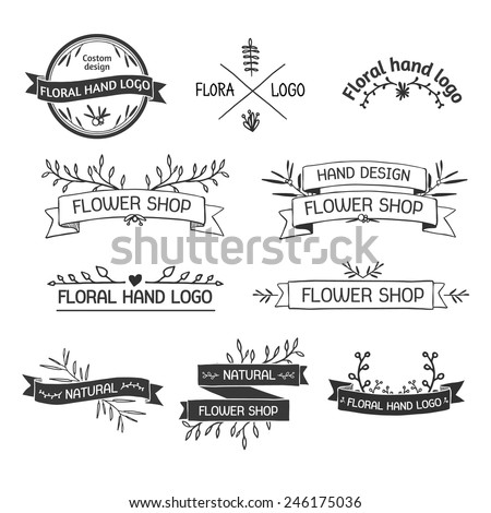 Retro Vintage Insignias or Logotypes set with floral elements and ribbons. Vector design elements, business signs, logos, identity, labels, badges and objects. Vector. - stock vector