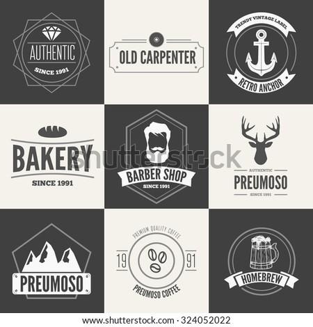 Retro vintage insignias set vector design elements business signs logos identity
