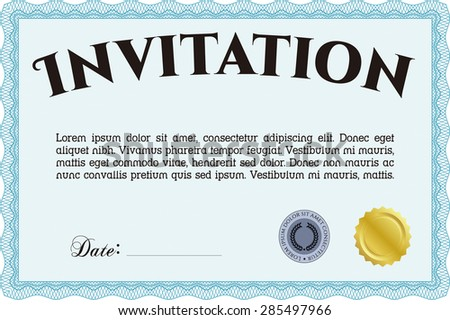 Retro vintage invitation. Customizable, Easy to edit and change colors.Lovely design. With background.  - stock vector