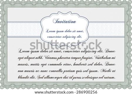 Retro vintage invitation. Detailed.With guilloche pattern. Cordial design.  - stock vector