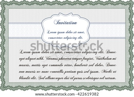 Retro vintage invitation. Retro design. With guilloche pattern.
