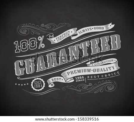 Retro Vintage label, typography ribbon drawing with chalk on blackboard - stock vector