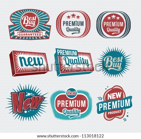 Retro vintage labels and badges - stock vector