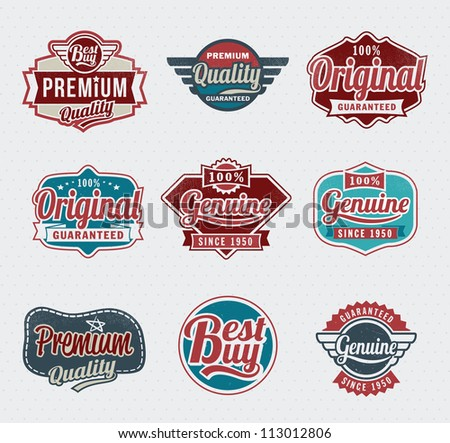 retro vintage labels for print and web - stock vector