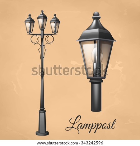 Retro vintage lamp post set with electricity lantern isolated vector illustration - stock vector
