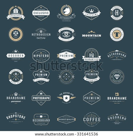 Retro Vintage Logotypes or insignias set. Vector design elements, business signs, logos, identity, labels, badges, apparel, shirts, ribbons, stickers and other branding objects. - stock vector