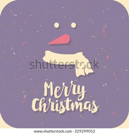 Retro Vintage Minimal Merry Christmas Background  - stock vector