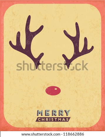 Retro Vintage Minimal Merry Christmas Background with Grunge Effect - stock vector