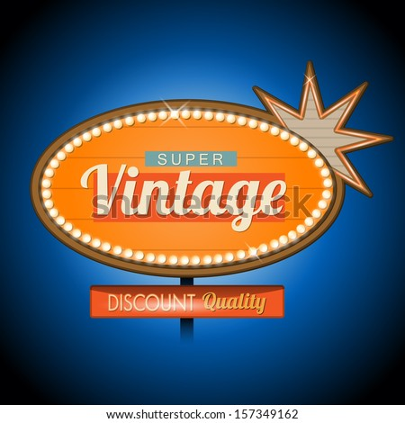 Retro vintage motel banner sign - stock vector