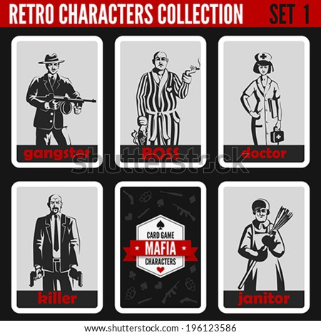 Retro vintage people collection. Mafia noir style. Gangster, Boss, Doctor, Killer, Janitor.  Professions silhouettes. - stock vector