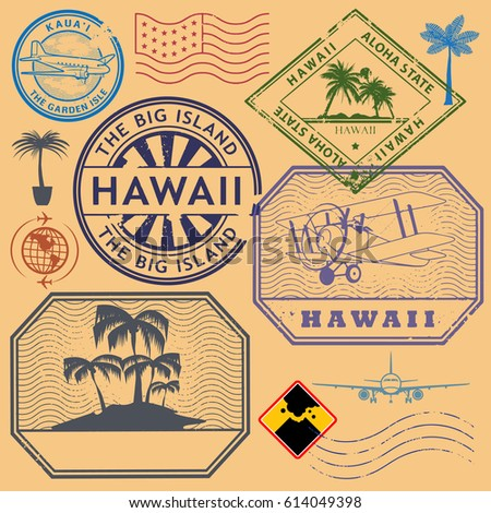 Retro Vintage Postage Stamps Set Hawaii United States Theme Vector Illustration