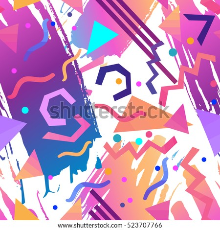Retro vintage 80s or 90s fashion style abstract seamless pattern background. Good for textile fabric design, wrapping paper and website wallpapers. Vector illustration.