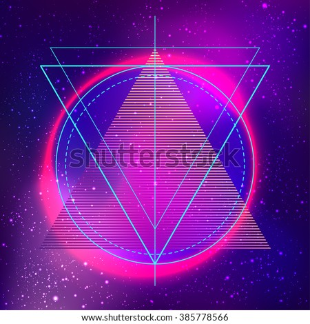 Retro vintage 80s or 90s geometric style abstract background. Good design for textile t-shirt  print design, flyer and poster background. Futuristic vector illustration in bright neon colors. - stock vector