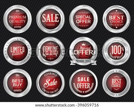 Retro vintage sale silver badge and labels collection - stock vector