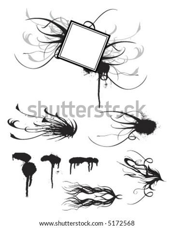 Retro Vintage Splatters and Swirls - stock vector