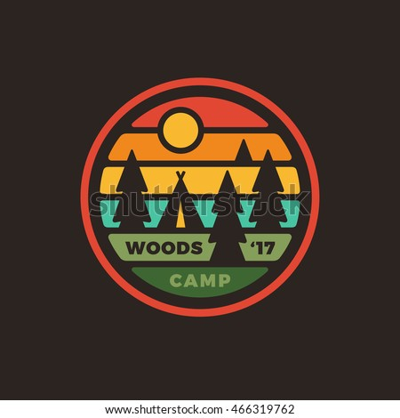Retro vintage style camping woods badge graphic