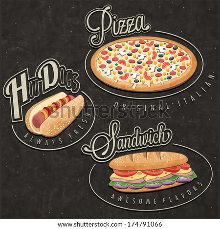 Retro vintage style fast food designs. Set of Calligraphic titles and symbols for foods. Hand lettering style. Pizza, Sandwich and Hot Dog realistic illustrations. Old fashioned fast food collection. - stock vector