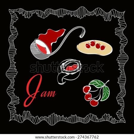 Retro vintage style food designs. Set of symbols for foods. Dumplings, cherry, jam, confiture, dough realistic illustrations. - stock vector