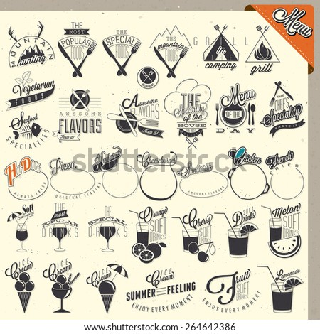 Retro vintage style restaurant menu designs. Set of Calligraphic titles and symbols for restaurant design. Hand lettering style calligraphy design. Ice Cream. Typographic. Fast Food. Vector - stock vector