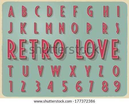 retro vintage style vector reliefed alphabet with shadow and stroke - stock vector