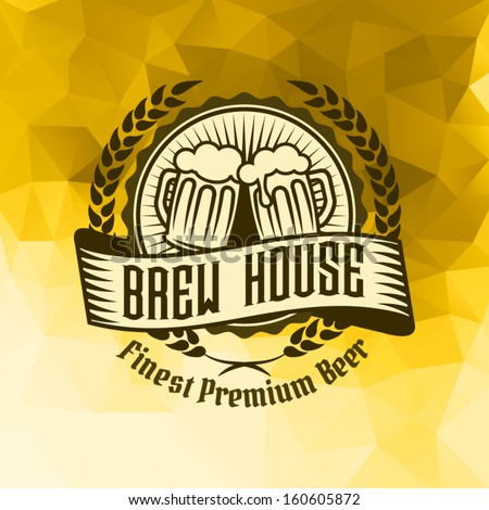 Retro vintage styled label of beer pub bar on triangle creative ice background pattern. Good as a template of advertisement.
