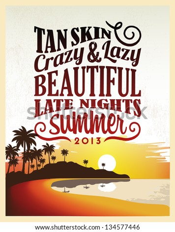 Retro Vintage Summer Poster Design with Typography