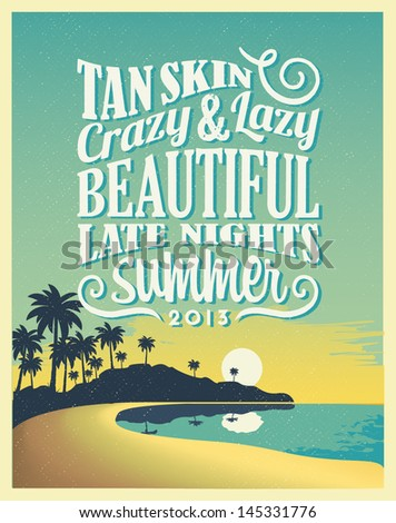 Retro Vintage Summer Poster Design with Typography  - stock vector