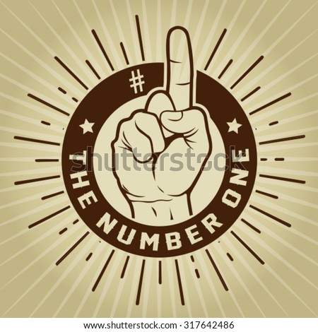 Retro Vintage The Number One Finger Seal - stock vector